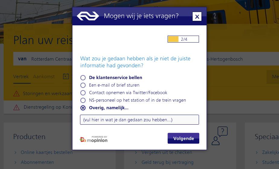 NS reizigers onderzoek - dMOTION | full-stack development, Rotterdam