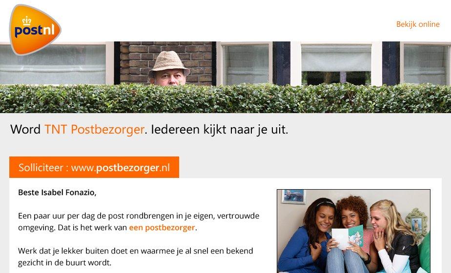 PostNL responsive nieuwsbrief - dMOTION | full stack development, Rotterdam